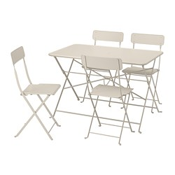 SALTHOLMEN - Meja+4 kursi lipat, luar ruang, krem