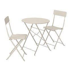 SALTHOLMEN - Table+2 folding chairs, outdoor, beige