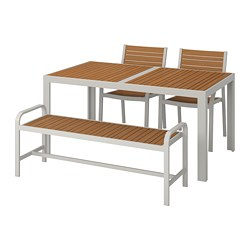 SJÄLLAND - Table+2 chairs+ bench, outdoor, light brown/light grey