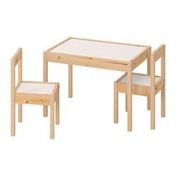 LÄTT - Meja anak dengan 2 kursi, putih/kayu pinus