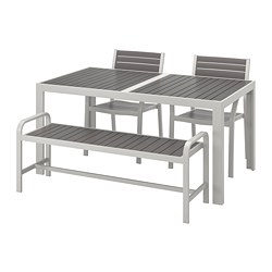 SJÄLLAND - Table+2 chairs+ bench, outdoor, dark grey/light grey