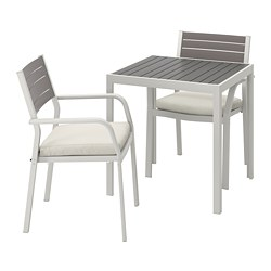 SJÄLLAND - Table+2 chairs w armrests, outdoor, dark grey/Frösön/Duvholmen beige