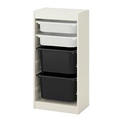 TROFAST - Kombinasi penyimpanan dgn kotak, putih/putih hitam