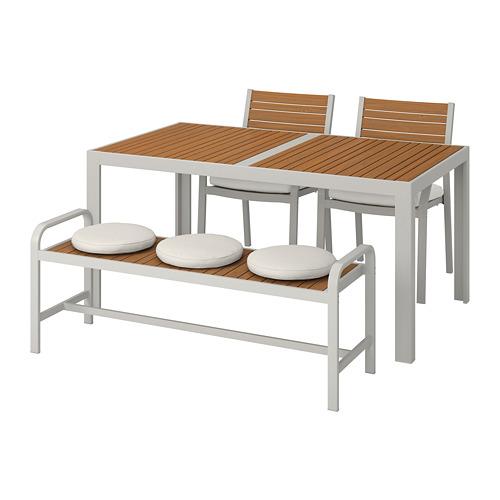 SJÄLLAND meja+2 kursi+bangku, luar rg