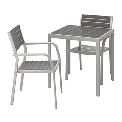 SJÄLLAND - Table+2 chairs w armrests, outdoor, dark grey/light grey