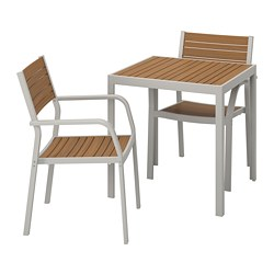 SJÄLLAND - Table+2 chairs w armrests, outdoor, light brown/light grey