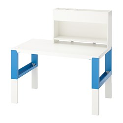 PÅHL - Desk with add-on unit, white/blue