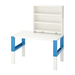 PÅHL - Desk with shelf unit, white/blue