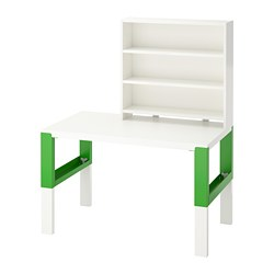 PÅHL - Desk with shelf unit, white/green