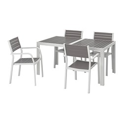 SJÄLLAND - Table+4 chairs w armrests, outdoor, dark grey/light grey