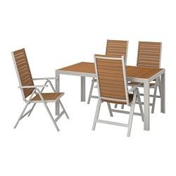 SJÄLLAND - Meja+4 kursi recliner, l.ruang, cokelat muda/abu-abu muda
