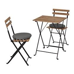 TÄRNÖ - Meja+2 kursi, luar ruang, diwarnai hitam/cokelat terang/Frösön/Duvholmen abu-abu tua
