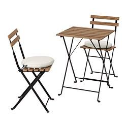 TÄRNÖ - Meja+2 kursi, luar ruang, diwarnai hitam/cokelat terang/Frösön/Duvholmen krem