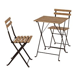 TÄRNÖ - Table+2 chairs, outdoor, black/light brown stained