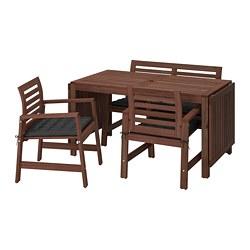 ÄPPLARÖ - Table+2 chrsw armr+ bench, outdoor, brown stained/Hållö black