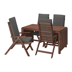 ÄPPLARÖ - Table+4 reclining chairs, outdoor, brown stained/Frösön/Duvholmen dark grey