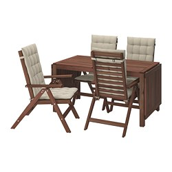 ÄPPLARÖ - Table+4 reclining chairs, outdoor, brown stained/Hållö beige
