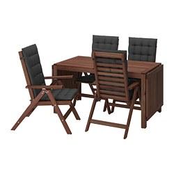 ÄPPLARÖ - Meja+4 kursi recliner, l.ruang, diwarnai cokelat/Hållö hitam