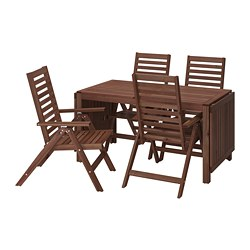ÄPPLARÖ - Meja+4 kursi recliner, l.ruang, diwarnai cokelat