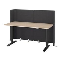 BEKANT - Meja penerima tamu duduk/berdiri, veneer kayu oak diwarnai putih/hitam
