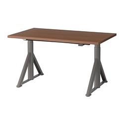 IDÅSEN - Meja duduk/berdiri, cokelat/abu-abu tua