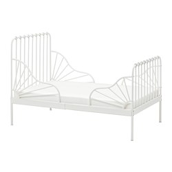 MINNEN - Ext bed frame with slatted bed base, white