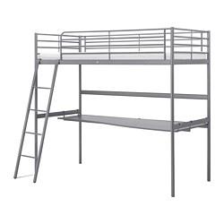 SVÄRTA - Rangka tempat tidur tinggi dg meja, warna perak