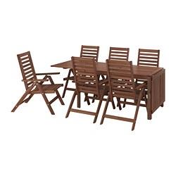 ÄPPLARÖ - Meja+6 kursi recliner, l.ruang, diwarnai cokelat