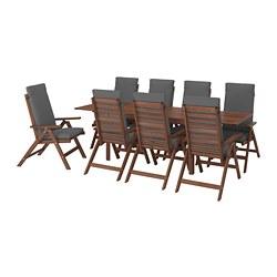 ÄPPLARÖ - Meja+8 kursi recliner, l.ruang, diwarnai cokelat/Frösön/Duvholmen abu-abu tua