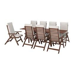 ÄPPLARÖ - Meja+8 kursi recliner, l.ruang, diwarnai cokelat/Frösön/Duvholmen krem