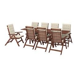 ÄPPLARÖ - Meja+8 kursi recliner, l.ruang, diwarnai cokelat/Hållö krem