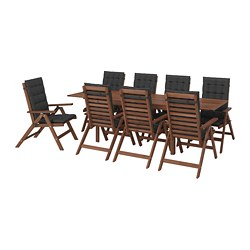 ÄPPLARÖ - Meja+8 kursi recliner, l.ruang, diwarnai cokelat/Hållö hitam