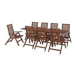ÄPPLARÖ - Meja+8 kursi recliner, l.ruang, diwarnai cokelat