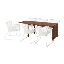 ÄPPLARÖ/HÖGSTEN - Table+6 chairs w armrests, outdoor, brown stained/white