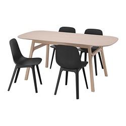 ODGER/VOXLÖV - Meja dan 4 kursi, bambu/antrasit