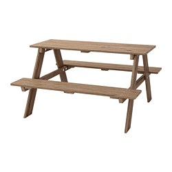 RESÖ - Children's picnic table, grey-brown stained