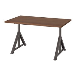 IDÅSEN - Desk, brown/dark grey