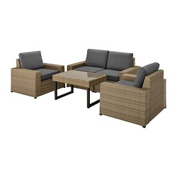 SOLLERÖN - 4-seat conversation set, outdoor, brown/Frösön/Duvholmen dark grey