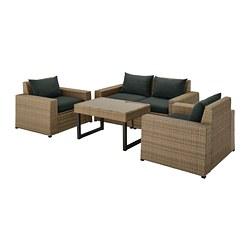 SOLLERÖN - 4-seat conversation set, outdoor, brown/Hållö black