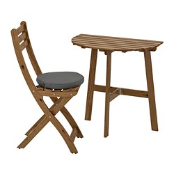 ASKHOLMEN - Meja dinding+1 kursi lipat, l.ruang, diwarnai abu-abu cokelat/Frösön/Duvholmen abu-abu tua