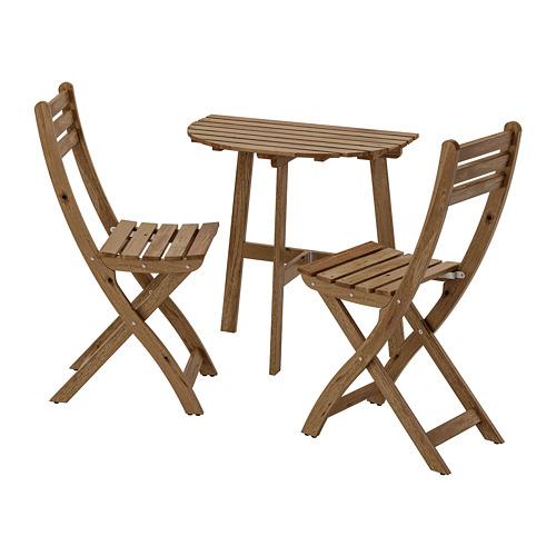ASKHOLMEN meja dinding+2 kursi lipat, l.ruang