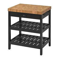 VADHOLMA - Kitchen island, black/oak