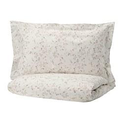 STRANDFRÄNE - Sarung quilt dan 2 sarung bantal, putih/krem muda