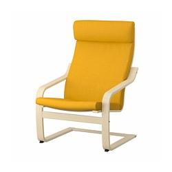 POÄNG - Armchair, birch veneer/Skiftebo yellow