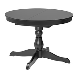 INGATORP - Extendable table, black, 110/155 cm