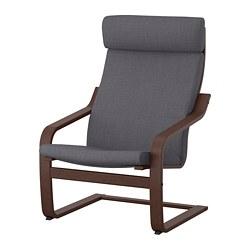 POÄNG - Armchair, brown/Skiftebo dark grey