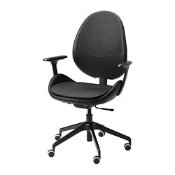 HATTEFJÄLL - Office chair with armrests, Smidig black/black