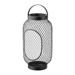 TOPPIG - Lantern for block candle, black