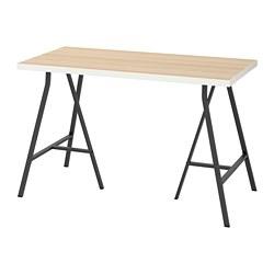 LERBERG/LINNMON - Meja, putih efek kayu oak diwarnai putih/abu-abu