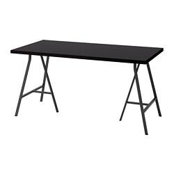 LERBERG/LINNMON - Meja, hitam-cokelat/abu-abu